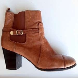 Gianni Bini Leather Bryanne Brown Ankle Boots